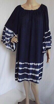 Belle Peasant Dress (ACE FASHION 2X NAVY BLUE WHITE BOHO PEASANT DRESS Bohemian Bell Sleeve tie)