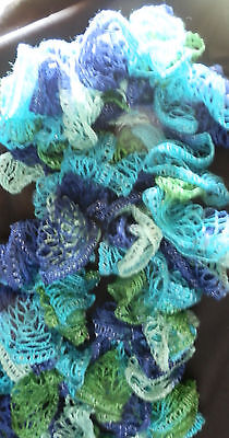 Fashion SPIRAL RUFFLE SCARF Hand Made Sea Blues and Greens NWOT