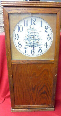 Unusual Large Miller Program Wall Clock #3 With Ladder Chain In Back Of Case