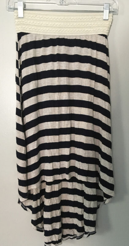 BTween Black White Striped Asymmetrical Hi Low Elastic Waist Skirt Girls Sz 10