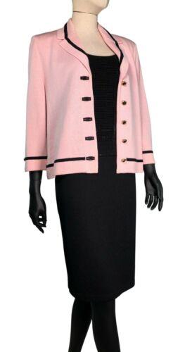 St John by Marie Gray Soft Pink Black Santana Knit 3 pc Suit