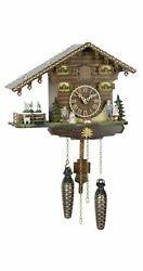Quartz Cuckoo Clock Swiss house with music, turning goats TU 434 QMT NEW
