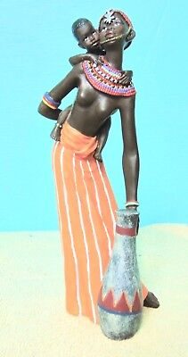 African Lady with Child Figurine Multi-colored red oranges black greens yellows  for sale  Shipping to Nigeria