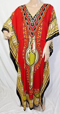True Rock Damen Plus One Freie Größe Lange Tunika Kaftan Kleid Dashiki Rot Grün