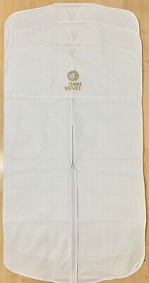 "3 VERSACE Garment Bags White VINYL 22""x38"" for Suit Shirt Travel or Storage -NEW"