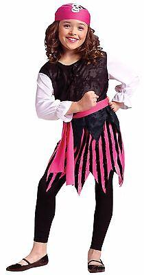 Girls Pink Pirate Costume Cute Skull High Seas Sailor Halloween Kids Child S M L