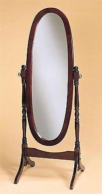 Cherry Oval Cheval Mirror (Swivel Full Length Standing Wood Cheval Floor Oval Mirror White Oak Cherry)