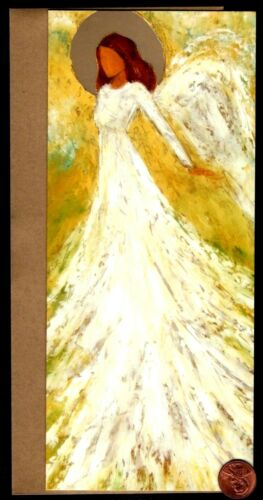 Angel Yellow Impressionism Style * Gold Shine * Christmas Blank Note Card NEW
