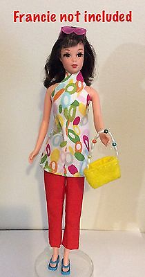 Francie Barbie Handmade Outfit Clothes Pants Long Top And Purse  (no Doll)