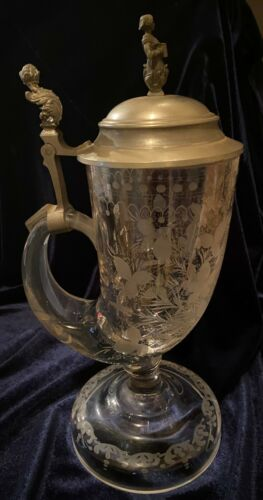 Crystal Beer Stein Etched w/ Ornate Pewter Thumb Lift & Topper Vintage Germany