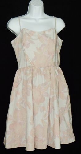H& M Women's Dress Size 14 Spaghetti Straps Floral  Muted Shades   EUC Free Ship