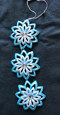 3 x Ice Blue & Silver Snowflakes Christmas Baubles Tree Hangers Decoration 16cm - Blue Snowflakes Decorations