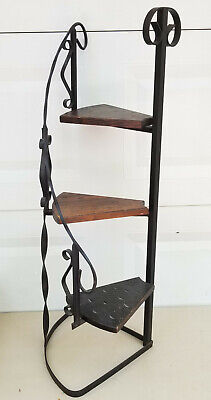 VINTAGE MEXICAN WROUGHT IRON and WOOD SPIRAL DISPLAY PLANT STAND ~ 38