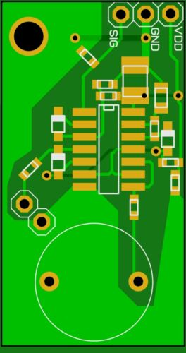 Assembled clicker PCB electronic board with LED and buzzer