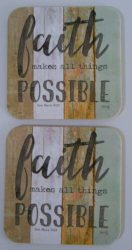 Leanin Tree 2 PACK COASTER set, FAITH MAKES ALL THINGS POSSIBLE, Cork Back, USA