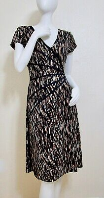 Connected Apparel Khaki brown Abstract Wiggle Faux Wrap Dress Sheath -
