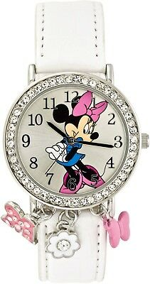 Pink And White Minnie Mouse (Disney's  Minnie Mouse Watch With Dangling Charms Pink and White/Adj Strap  NIB)