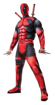 Mens Muscle Suit (Adult Men's Marvel Deadpool Halloween Costume w/muscle chest - STD and XL)