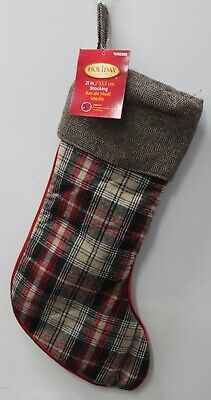 PLAID STOCKING & HERRINGBONE CUFF Christmas Holiday Traditional Classic Chic NEW