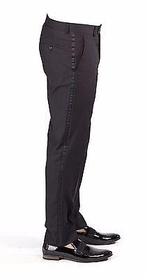 Men's Tailored Slim Fit Black Flat Front Tuxedo Pants Dress