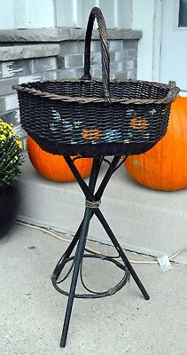 Hand Painted Plant Stand - Vtg hand painted WOOD AND WICKER 3 LEGGED PLANT STAND PLANTER WOVEN BASKET