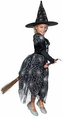 Hexenkostüm m Hut Kinder Spinnennetz Hexe Kleid Gr.116-152 Karneval Halloween