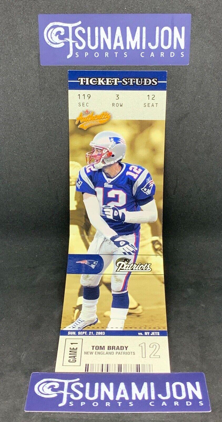 2003 Fleer Authentix Ticket Studs #2TS Tom Brady New England Patriots