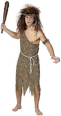 Mens Caveman Costume Cave Man Prehistoric Leopard Cheetah Tunic Gown Adult NEW (Caveman Costume)