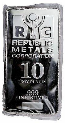 Republic Metals Corp. 10 Troy Ounce .999 Fine Silver Bar SKU31524