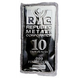 Republic Metals Corporation RMC 10 Troy oz .999 Fine Silver Bar Delayed SKU31524