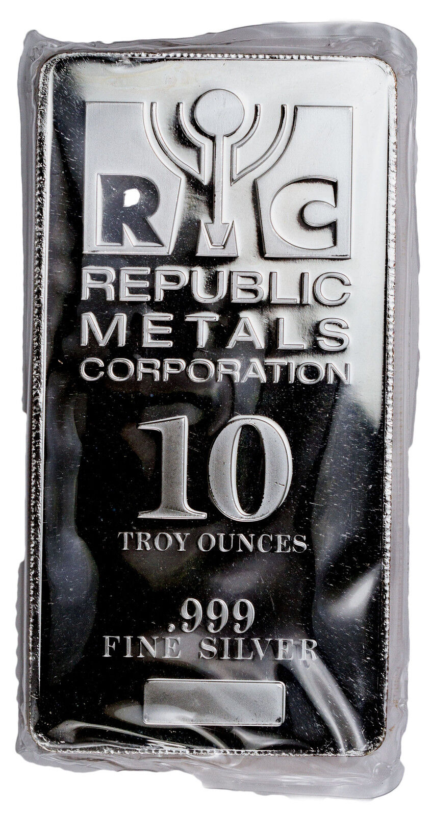 Republic Metals Corporation RMC 10 Troy oz .999 Fine Silver Bar SKU31524
