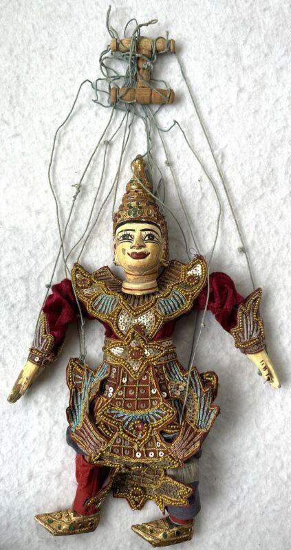 VINTAGE HANDMADE THAI BURMESE STRING PUPPET MARIONETTE
