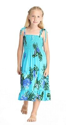 Aloha Summer Beach Hawaiian Cruise Luau Elastic Ruffles Girl Dress in Turquoise