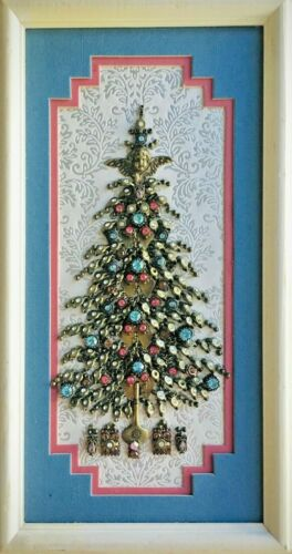 CHRISTMAS TREE, FRAMED JEWELRY ONE OF A KIND ART, UNIQUE GIFT, VINTAGE DECOR