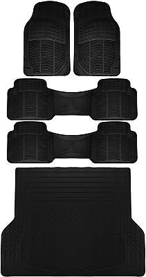 5pc All Weather Heavy Duty Rubber Universal Floor Mat Black 3 Row  Trunk Liner
