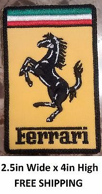 **LOVE IT OR ITS FREE ** Ferrari rectangular embroidered patch, IRON ON, 4X2.5IN