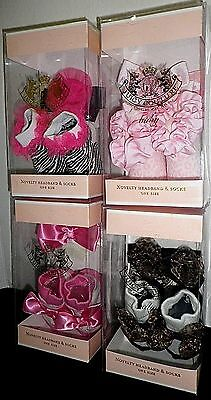- JUICY COUTURE Infant Baby Girls Novelty Headband & Booties Socks 2 PC BOX SET OS