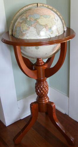 "Cram 12"" Imperial World Classic Globe Powell Wood Floor Standing Globe"