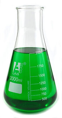 2000ml Conical Flask - Wide Neck - 3.3 Borosilicate Glass - 250ml Graduations