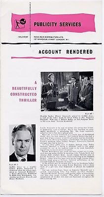 ACCOUNT RENDERED 1957 Griffith Jones Honor Blackman Ursula Howells UK PRESSBOOK