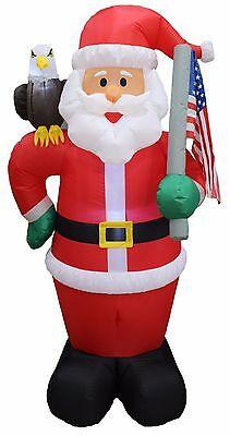 Christmas Air Blown Inflatable Yard Decoration Santa Claus Eagle & America Flag - Yard Inflatable Decorations