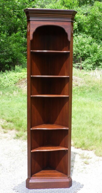 Vintage Ethan Allen Georgian Court Solid Cherry Corner Bookcase Display Shelving