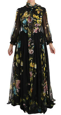 DOLCE & GABBANA Dress Black Silk Floral A-Line Gown IT44 / US10 / L RRP $5000