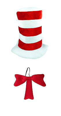 Cat in the Hat World Book Day Week Fancy Dress Costume Striped Hat & Bow Tie Set](Cat In The Hat Clothes)