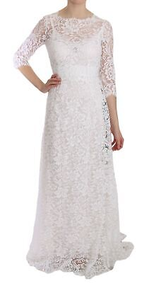 DOLCE & GABBANA Dress 3/4 Sleeves White Lace Gown A-Line IT38/ US4 /XS RRP $8950