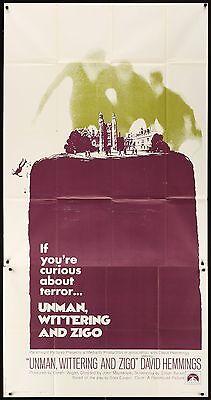 David Hemmings UNMAN, WITTERING & ZIGO 1971  41' x 81' US 3 SHEET MOVIE POSTER