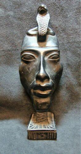 "EUC Egyptian 5.5"" Black Stone Uraeus Snake Wadjet Pharoah King Carved Figure"