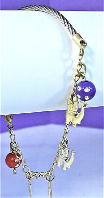 - Vintage Red Purple Spotted Beads Cats Gold Tone Chain Silver Tone Cable Bracelet
