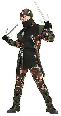Boys Ninja Army Soldier Fancy Dress Costume Outfit Samurai Warrior Age 5-13