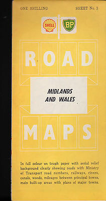 Shell BP Midlands & Wales Map Sheet #3 1960s Great Britain Gas Station Map